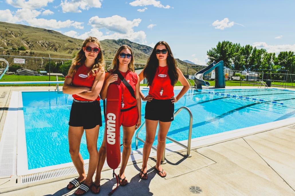 Lifeguards at pool